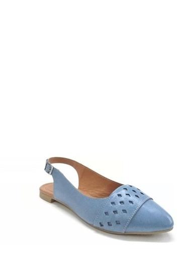 Ballerins Hakiki Deri El Yapımı Mavi Babet Blrs-130 Mavi